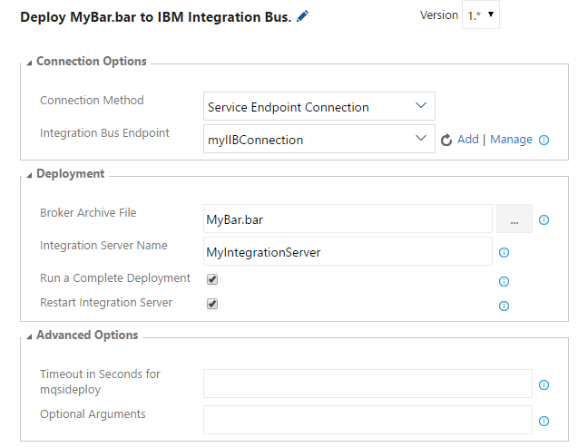 IBM Integration Bus Deployment Task Details