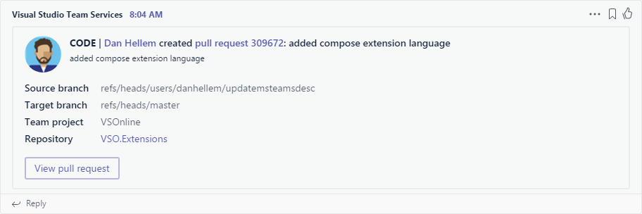 Visual Studio Team Services Code Pushed to Git alert
