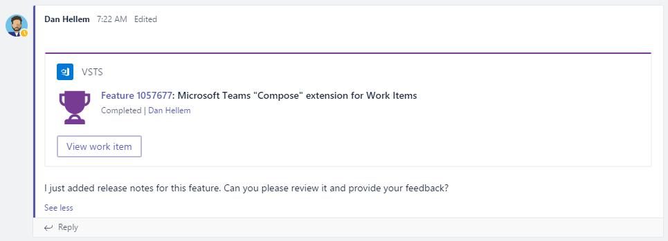 Visual Studio Team Services Work Item Card