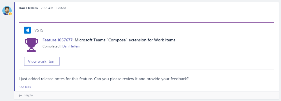 Visual Studio Team Services Work Item Card