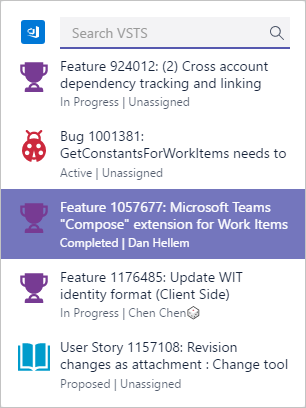 Visual Studio Team Services Work Item Select