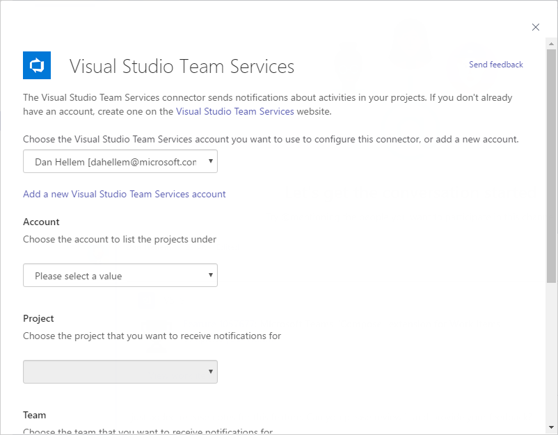Add Visual Studio Team Services Connector to Microsoft Teams