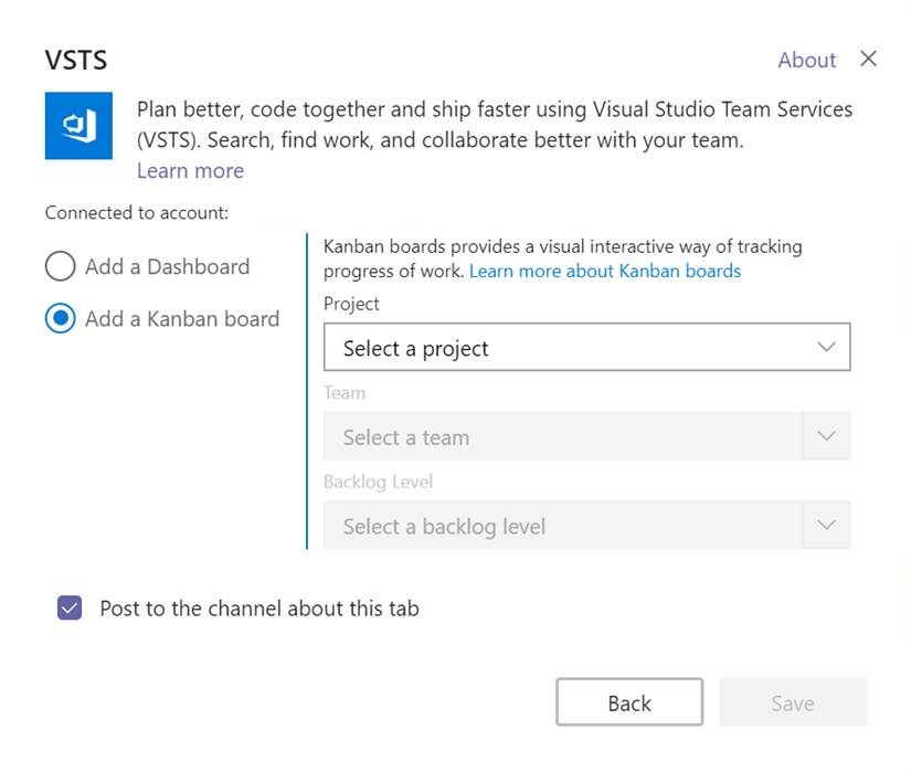 Add Visual Studio Team Services kanban board and dashboard to Microsoft Teams